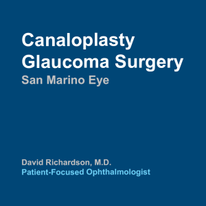 Canaloplasty Glaucoma Surgery